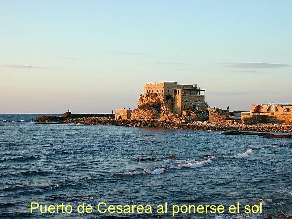 Puerto de Cesarea al ponerse el sol