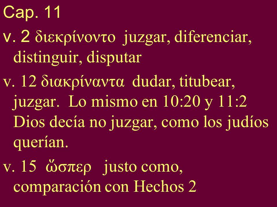Cap. 11 v. 2 διεκρίνοντο juzgar, diferenciar, distinguir, disputar v. 12 διακρίναντα dudar, titubear, juzgar. Lo mismo en 10:20 y 11:2 Dios decía no j