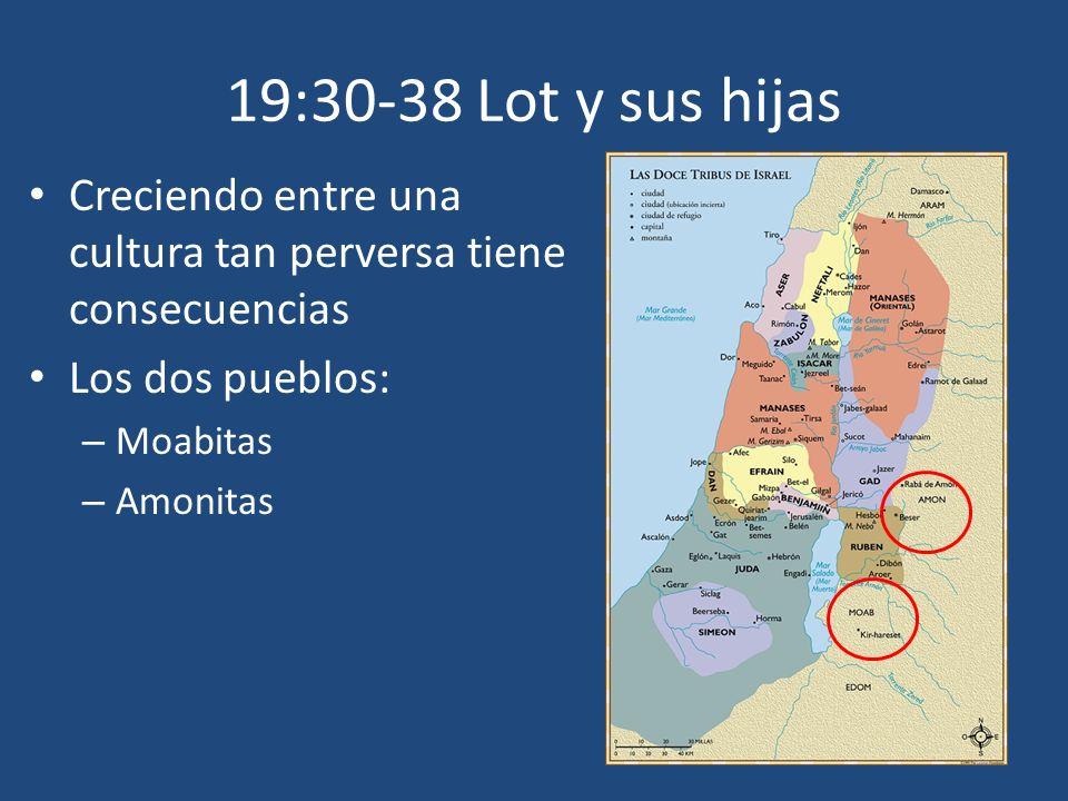 19:30-38 Lot y sus hijas Creciendo entre una cultura tan perversa tiene consecuencias Los dos pueblos: – Moabitas – Amonitas