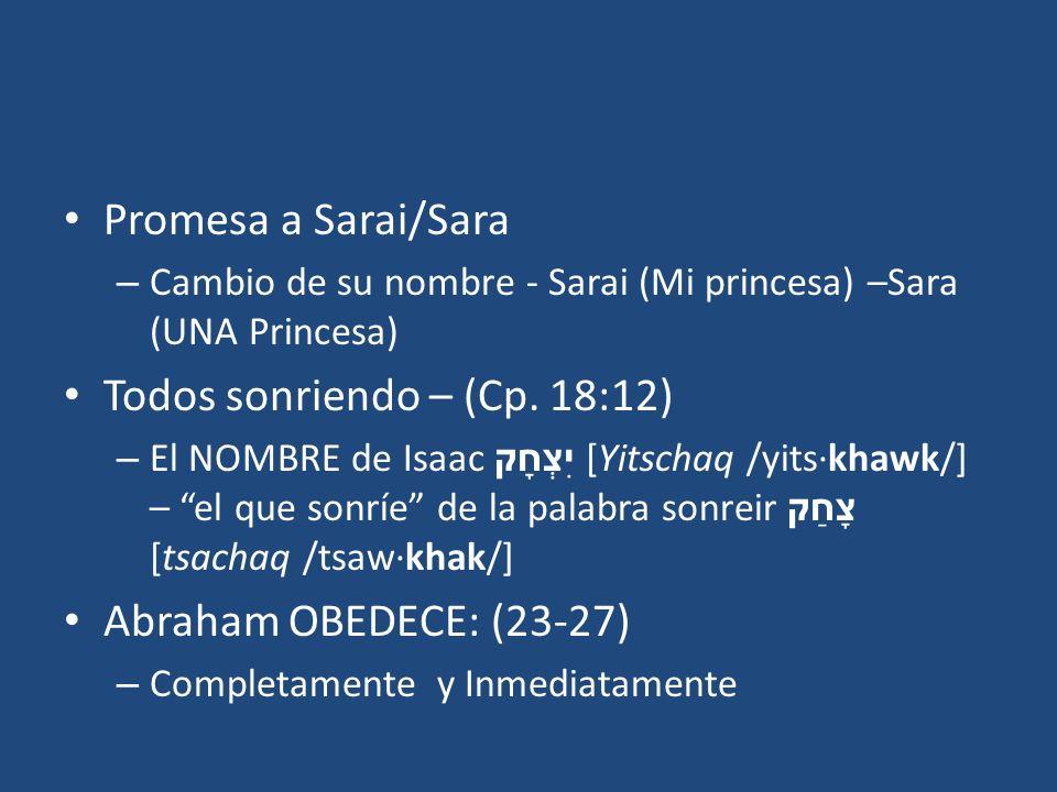 Promesa a Sarai/Sara – Cambio de su nombre - Sarai (Mi princesa) –Sara (UNA Princesa) Todos sonriendo – (Cp. 18:12) – El NOMBRE de Isaac יִצְחָק [Yits