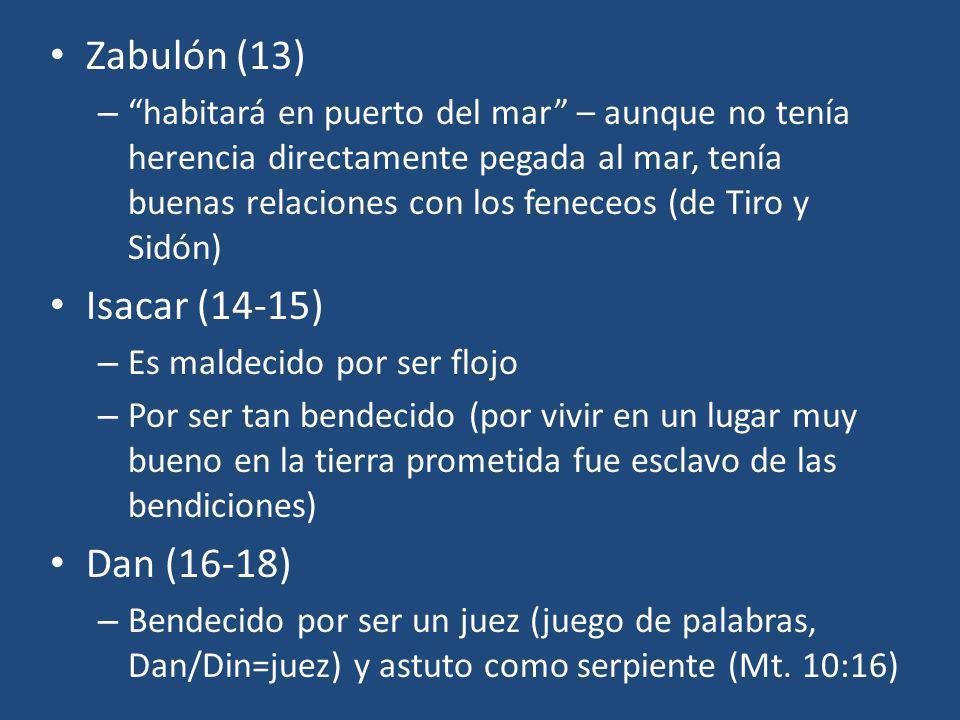 Zabulón (13) – habitará en puerto del mar – aunque no tenía herencia directamente pegada al mar, tenía buenas relaciones con los feneceos (de Tiro y S