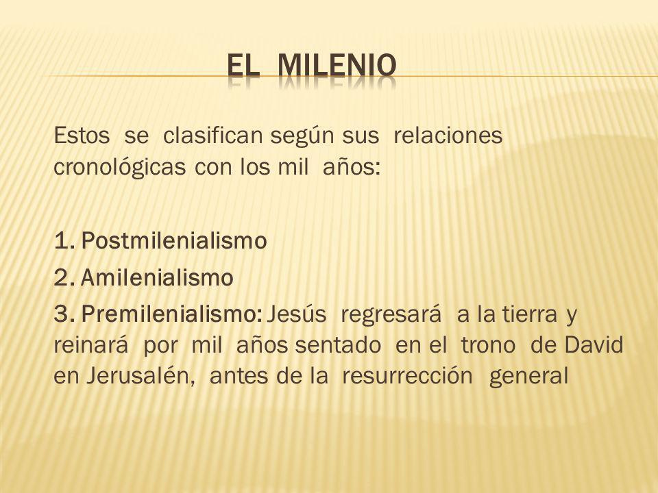 Estos se clasifican según sus relaciones cronológicas con los mil años: 1. Postmilenialismo 2. Amilenialismo 3. Premilenialismo: Jesús regresará a la