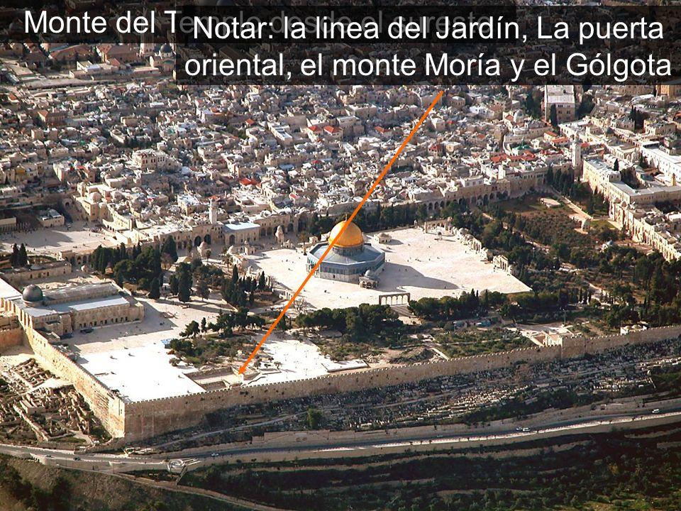 Monte del Templo desde el sureste Notar: la linea del Jardín, La puerta oriental, el monte Moría y el Gólgota