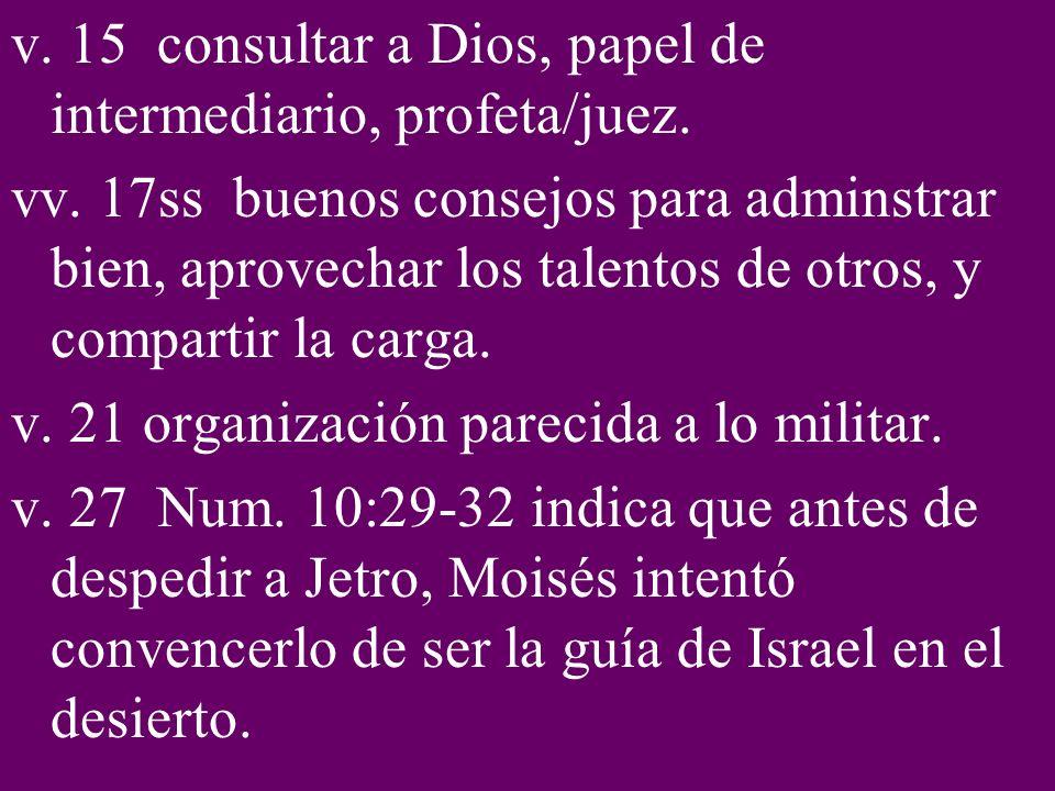v.15 consultar a Dios, papel de intermediario, profeta/juez.