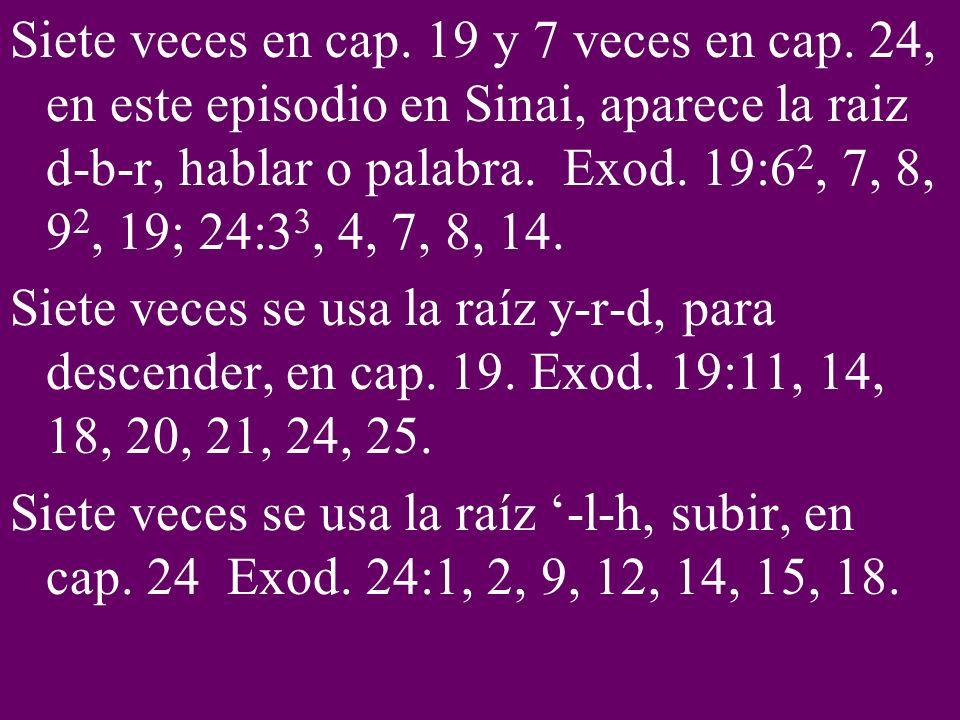 Siete veces en cap. 19 y 7 veces en cap. 24, en este episodio en Sinai, aparece la raiz d-b-r, hablar o palabra. Exod. 19:6 2, 7, 8, 9 2, 19; 24:3 3,