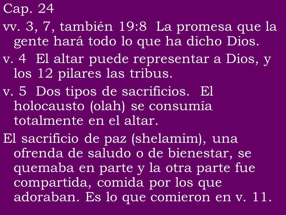 Cap. 24 vv. 3, 7, también 19:8 La promesa que la gente hará todo lo que ha dicho Dios. v. 4 El altar puede representar a Dios, y los 12 pilares las tr