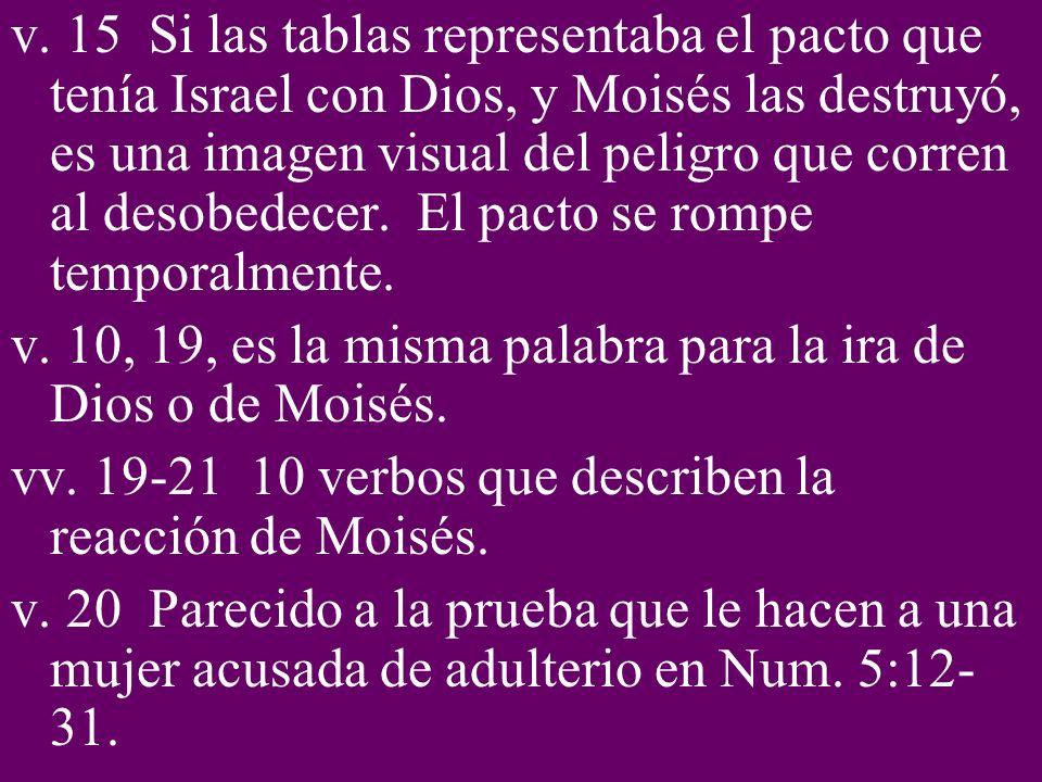 v. 15 Si las tablas representaba el pacto que tenía Israel con Dios, y Moisés las destruyó, es una imagen visual del peligro que corren al desobedecer