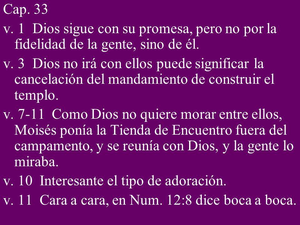 Cap. 33 v. 1 Dios sigue con su promesa, pero no por la fidelidad de la gente, sino de él. v. 3 Dios no irá con ellos puede significar la cancelación d
