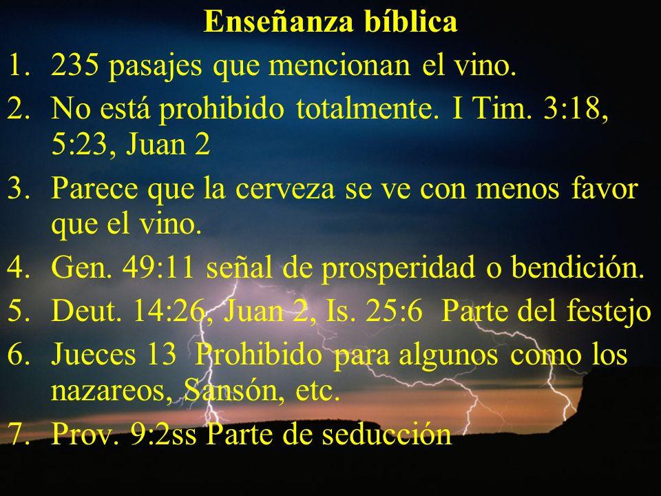 Enseñanza bíblica 1.235 pasajes que mencionan el vino. 2.No está prohibido totalmente. I Tim. 3:18, 5:23, Juan 2 3.Parece que la cerveza se ve con men