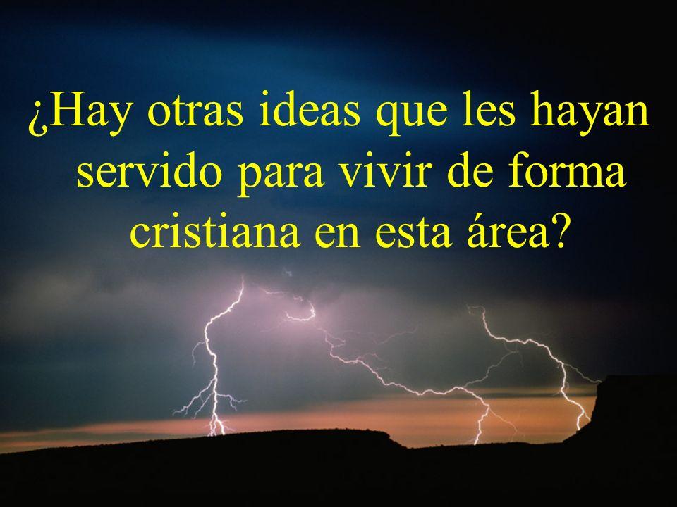 ¿Hay otras ideas que les hayan servido para vivir de forma cristiana en esta área?