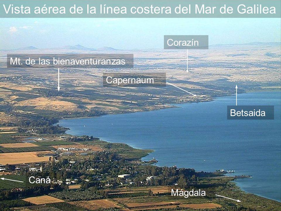 Vista aérea de la línea costera del Mar de Galilea Betsaida Mt.