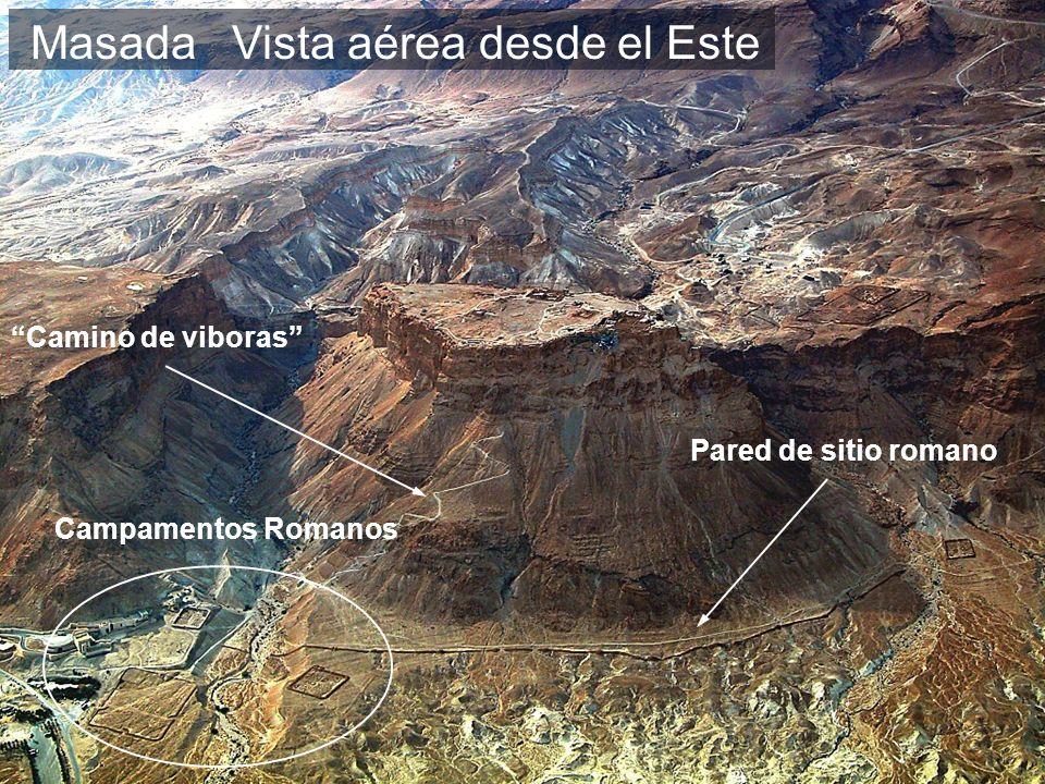 Masada Camino de viboras Pared de sitio romano Campamentos Romanos Vista aérea desde el Este