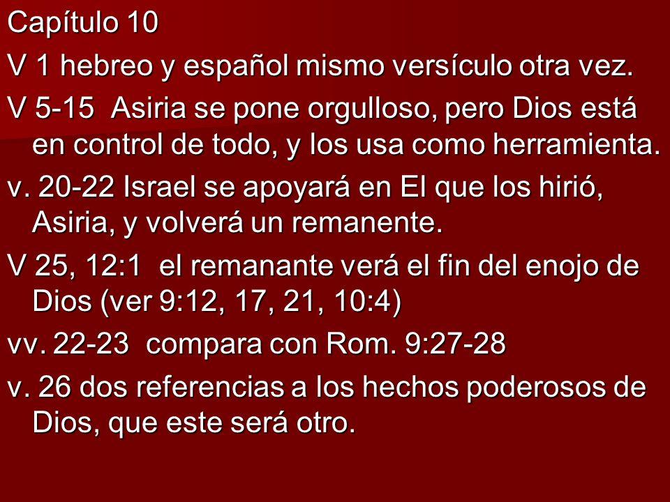 Capítulo 10 V 1 hebreo y español mismo versículo otra vez. V 5-15 Asiria se pone orgulloso, pero Dios está en control de todo, y los usa como herramie