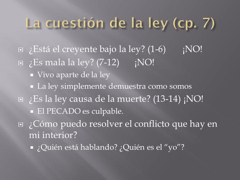 ¿Está el creyente bajo la ley? (1-6) ¡NO! ¿Es mala la ley? (7-12)¡NO! Vivo aparte de la ley La ley simplemente demuestra como somos ¿Es la ley causa d