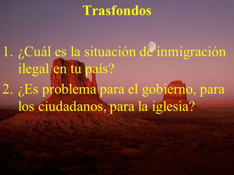 Trasfondos 1.¿Cuál es la situación de inmigración ilegal en tu país? 2.¿Es problema para el gobierno, para los ciudadanos, para la iglesia?