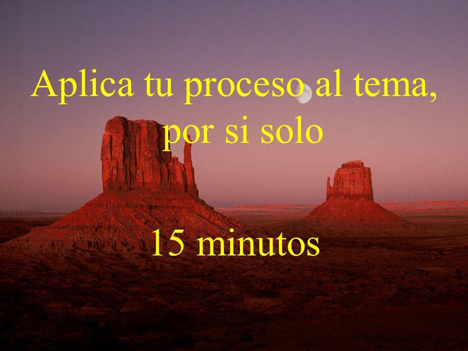 Aplica tu proceso al tema, por si solo 15 minutos