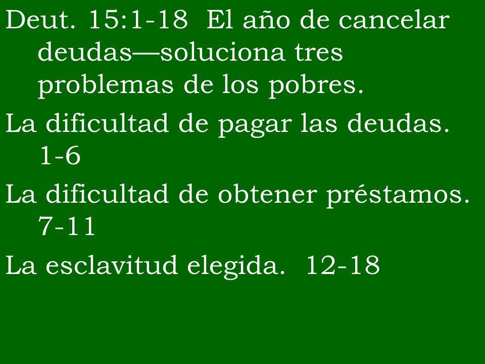 Deut. 15:1-18 El año de cancelar deudassoluciona tres problemas de los pobres. La dificultad de pagar las deudas. 1-6 La dificultad de obtener préstam