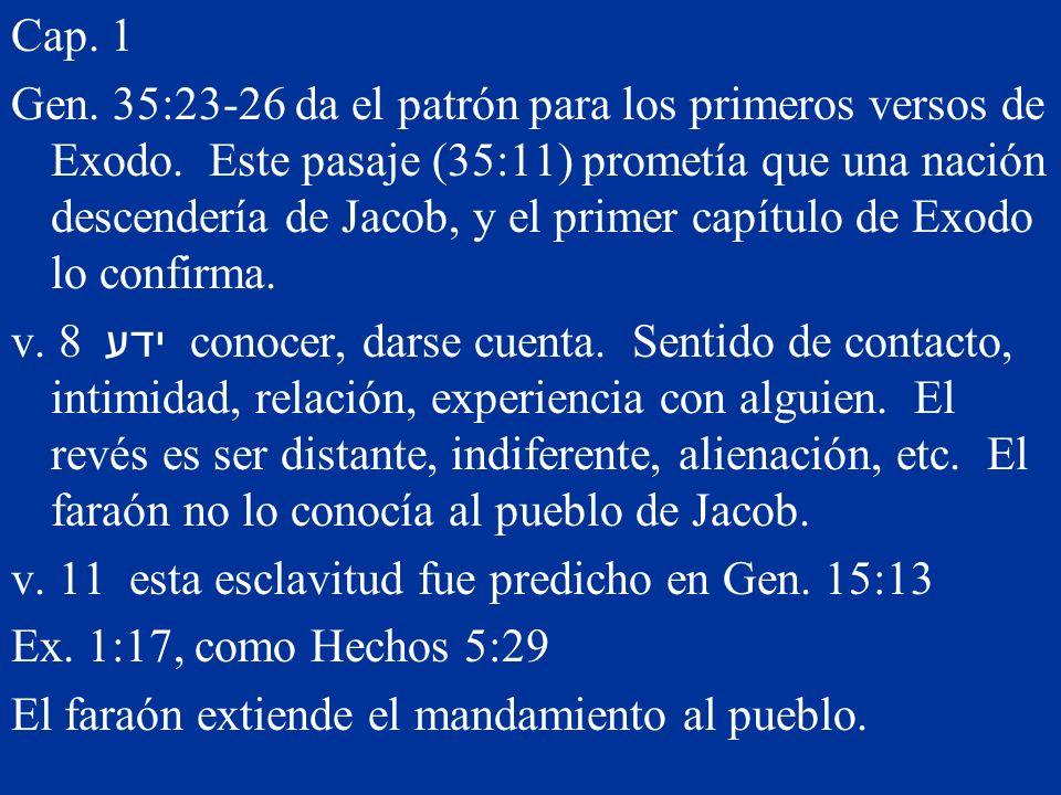 Cap. 1 Gen. 35:23-26 da el patrón para los primeros versos de Exodo. Este pasaje (35:11) prometía que una nación descendería de Jacob, y el primer cap