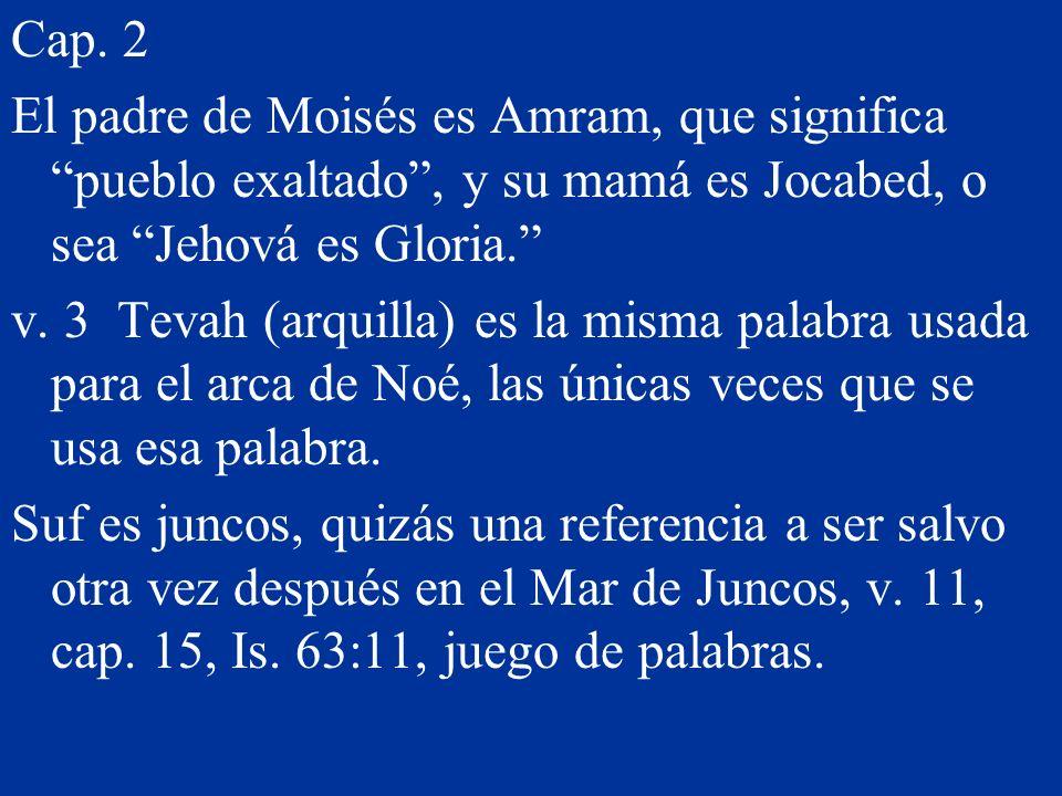Cap. 2 El padre de Moisés es Amram, que significa pueblo exaltado, y su mamá es Jocabed, o sea Jehová es Gloria. v. 3 Tevah (arquilla) es la misma pal