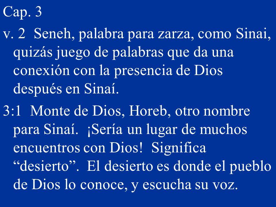 Cap. 3 v. 2 Seneh, palabra para zarza, como Sinai, quizás juego de palabras que da una conexión con la presencia de Dios después en Sinaí. 3:1 Monte d
