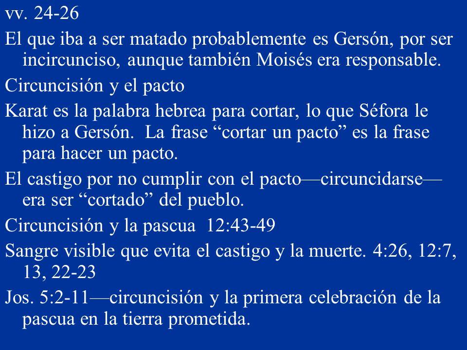 vv. 24-26 El que iba a ser matado probablemente es Gersón, por ser incircunciso, aunque también Moisés era responsable. Circuncisión y el pacto Karat
