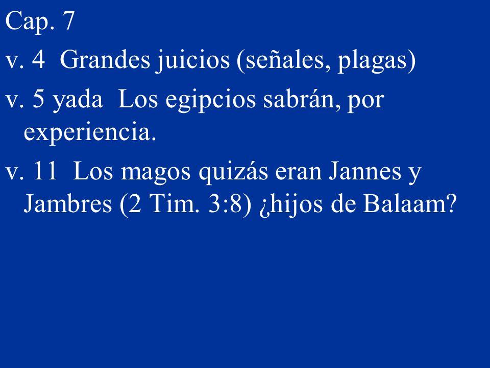 Cap. 7 v. 4 Grandes juicios (señales, plagas) v. 5 yada Los egipcios sabrán, por experiencia. v. 11 Los magos quizás eran Jannes y Jambres (2 Tim. 3:8