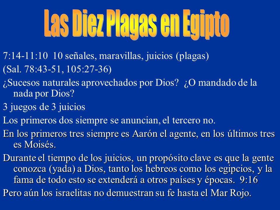 7:14-11:10 10 señales, maravillas, juicios (plagas) (Sal. 78:43-51, 105:27-36) ¿Sucesos naturales aprovechados por Dios? ¿O mandado de la nada por Dio