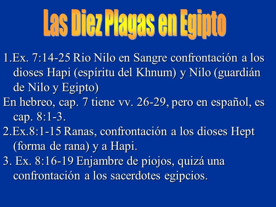 1.Ex. 7:14-25 Rio Nilo en Sangre confrontación a los dioses Hapi (espíritu del Khnum) y Nilo (guardián de Nilo y Egipto) En hebreo, cap. 7 tiene vv. 2