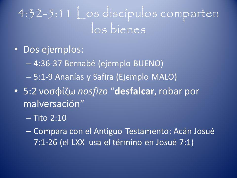 4:32-5:11 Los discípulos comparten los bienes Dos ejemplos: – 4:36-37 Bernabé (ejemplo BUENO) – 5:1-9 Ananías y Safira (Ejemplo MALO) 5:2 νοσφίζω nosf