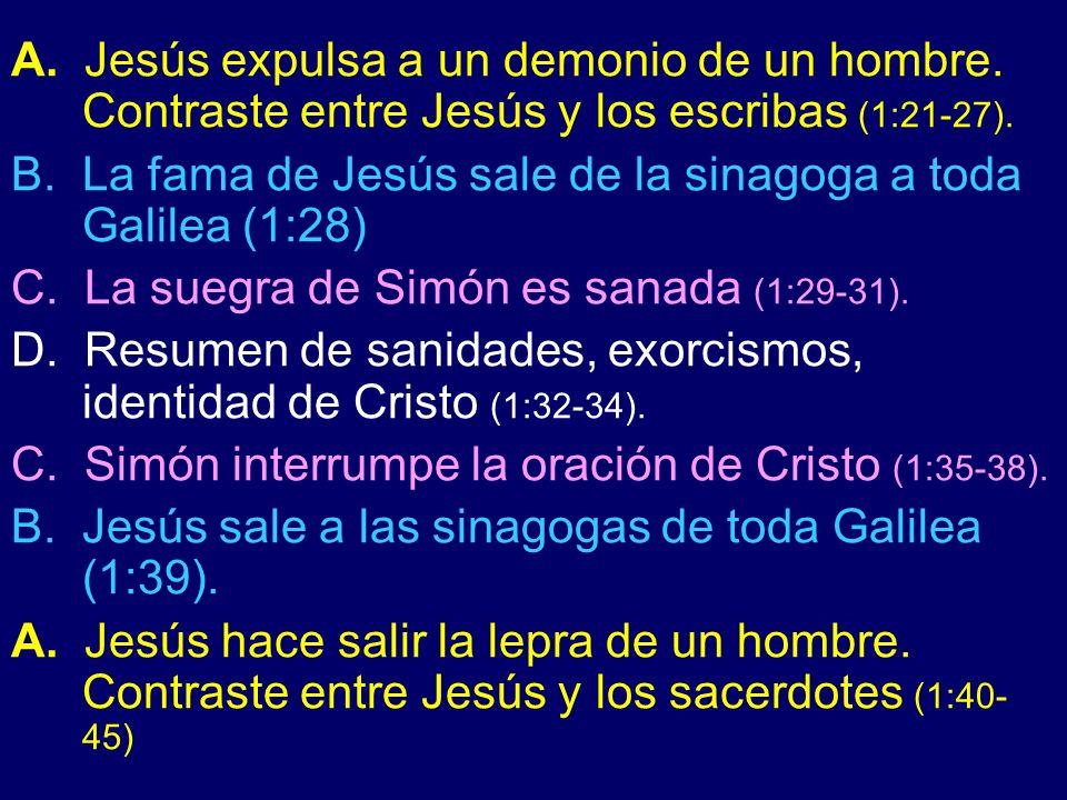 A. Jesús expulsa a un demonio de un hombre. Contraste entre Jesús y los escribas (1:21-27). B. La fama de Jesús sale de la sinagoga a toda Galilea (1: