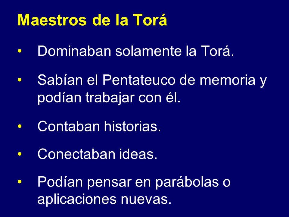 Maestros de la Torá Dominaban solamente la Torá. Sabían el Pentateuco de memoria y podían trabajar con él. Contaban historias. Conectaban ideas. Podía