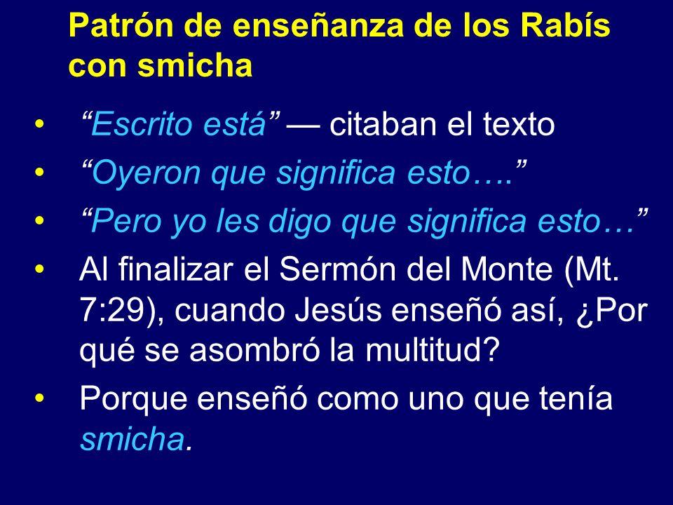 Patrón de enseñanza de los Rabís con smicha Escrito está citaban el texto Oyeron que significa esto…. Pero yo les digo que significa esto… Al finaliza