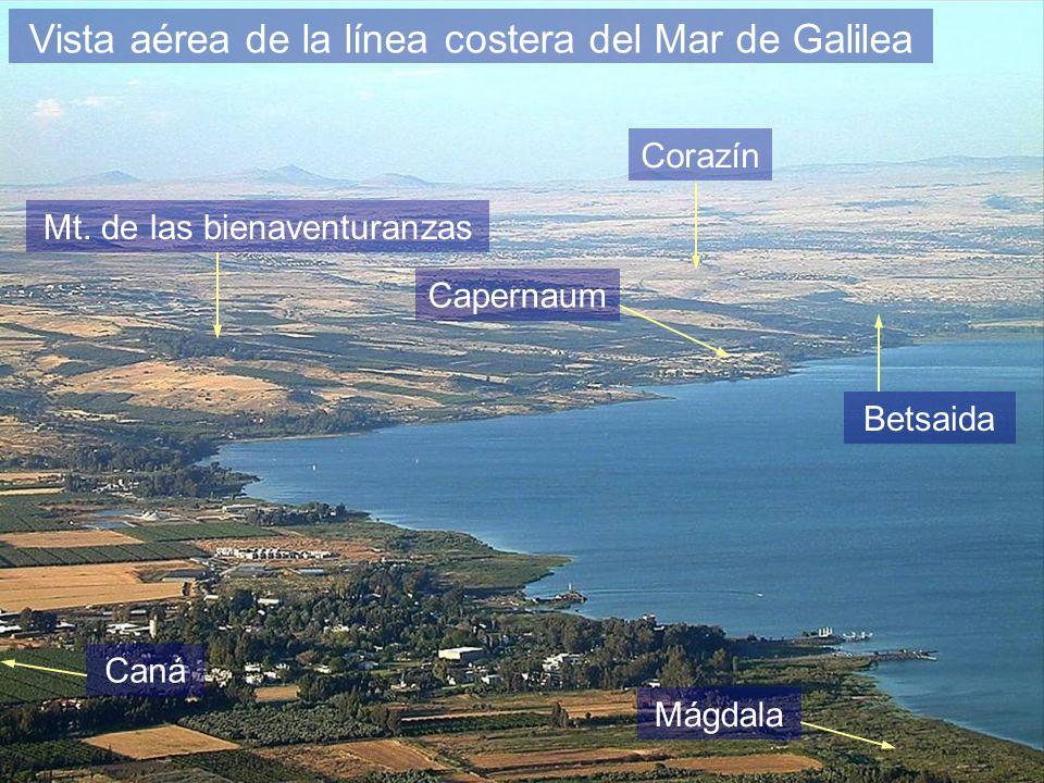 Vista aérea de la línea costera del Mar de Galilea Betsaida Mt. de las bienaventuranzas Capernaum Corazín Caná Mágdala