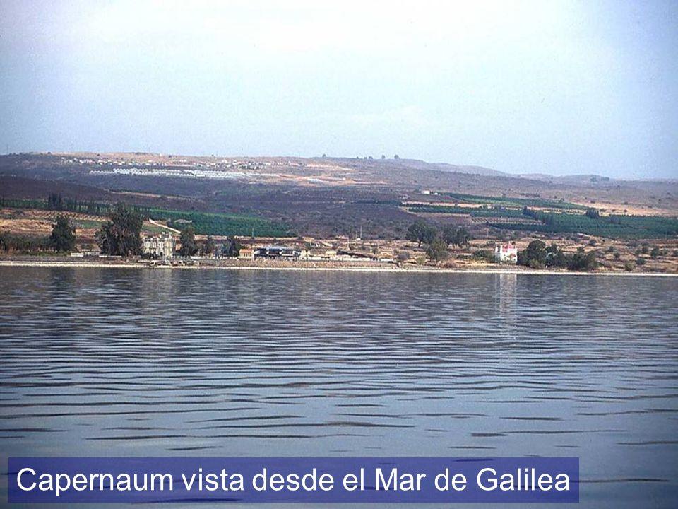 Capernaum vista desde el Mar de Galilea