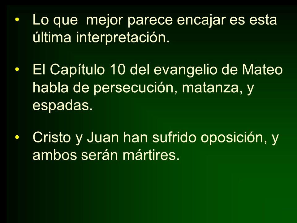 Lo que mejor parece encajar es esta última interpretación. El Capítulo 10 del evangelio de Mateo habla de persecución, matanza, y espadas. Cristo y Ju