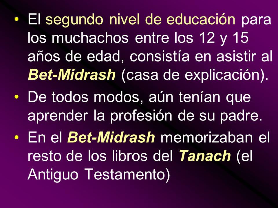 El segundo nivel de educación para los muchachos entre los 12 y 15 años de edad, consistía en asistir al Bet-Midrash (casa de explicación). De todos m