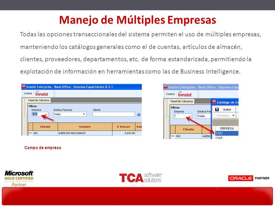 Todas las opciones transaccionales del sistema permiten el uso de múltiples empresas, manteniendo los catálogos generales como el de cuentas, artículo