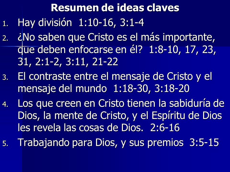 Resumen de ideas claves 1. Hay división 1:10-16, 3:1-4 2. ¿No saben que Cristo es el más importante, que deben enfocarse en él? 1:8-10, 17, 23, 31, 2: