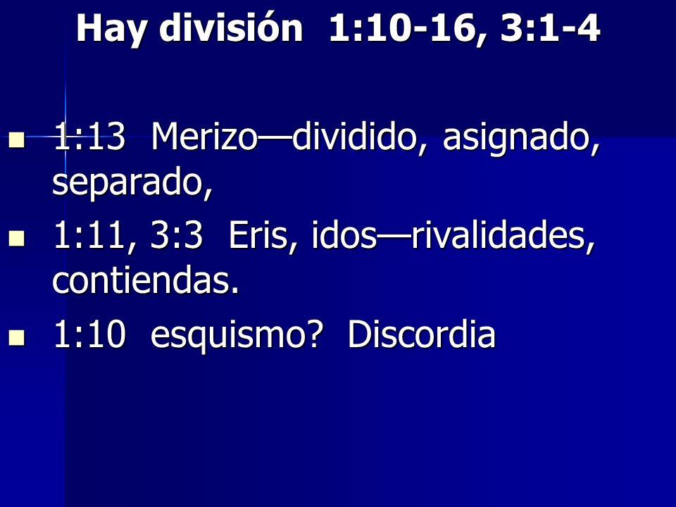 Hay división 1:10-16, 3:1-4 1:13 Merizodividido, asignado, separado, 1:13 Merizodividido, asignado, separado, 1:11, 3:3 Eris, idosrivalidades, contien