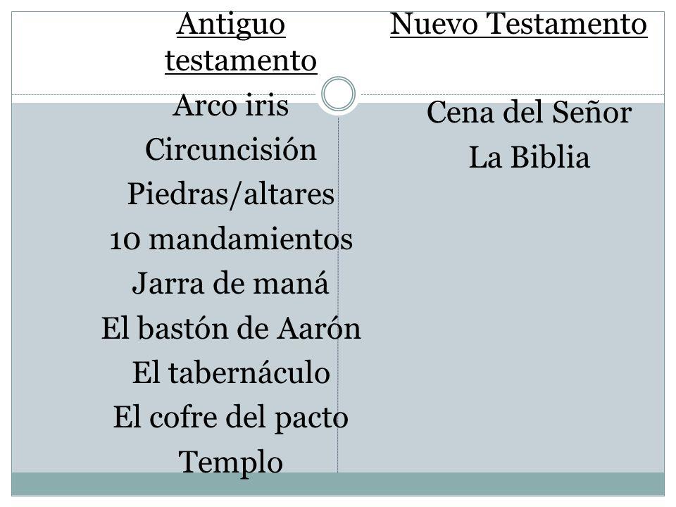 Antiguo testamento Arco iris Circuncisión Piedras/altares 10 mandamientos Jarra de maná El bastón de Aarón El tabernáculo El cofre del pacto Templo Nu