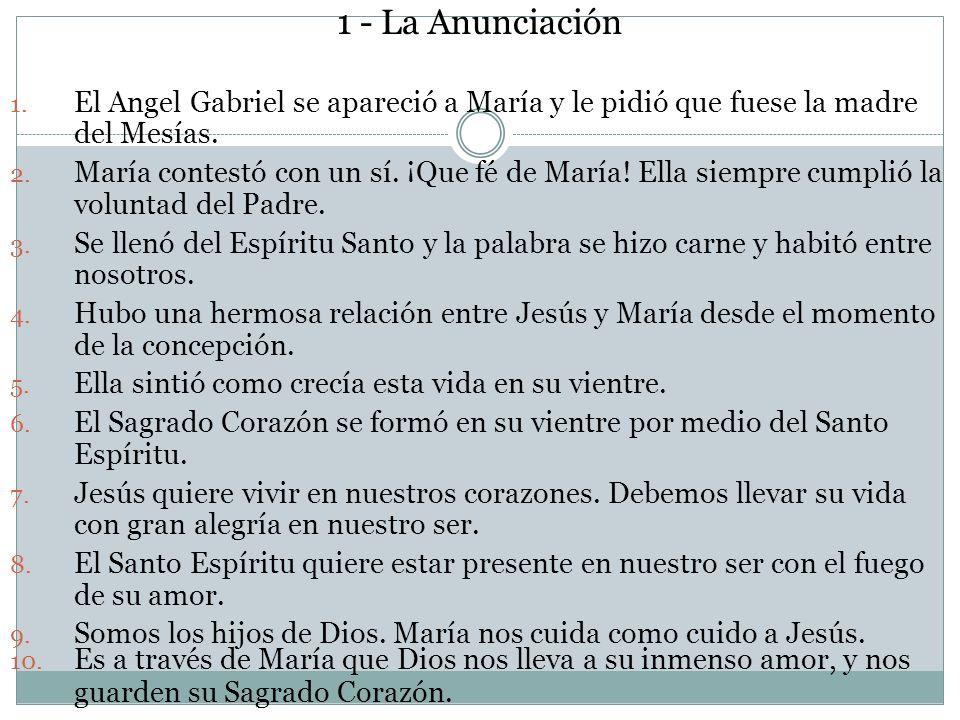 1 - La Anunciación 1. El Angel Gabriel se apareció a María y le pidió que fuese la madre del Mesías. 2. María contestó con un sí. ¡Que fé de María! El