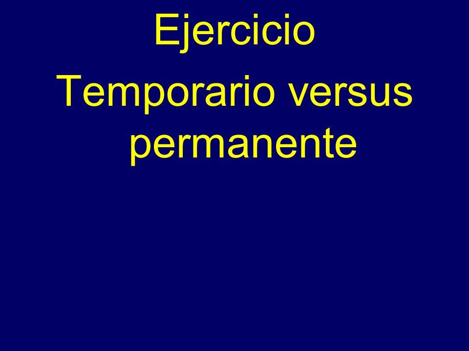 Ejercicio Temporario versus permanente