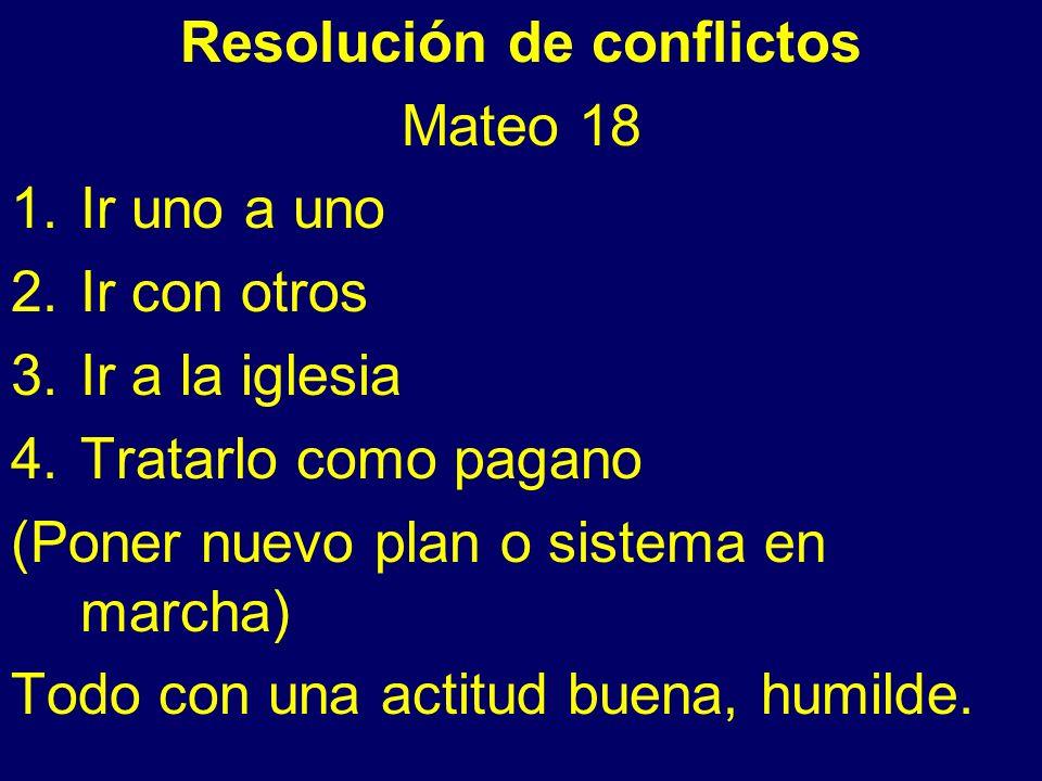 Resolución de conflictos Mateo 18 1.Ir uno a uno 2.Ir con otros 3.Ir a la iglesia 4.Tratarlo como pagano (Poner nuevo plan o sistema en marcha) Todo con una actitud buena, humilde.