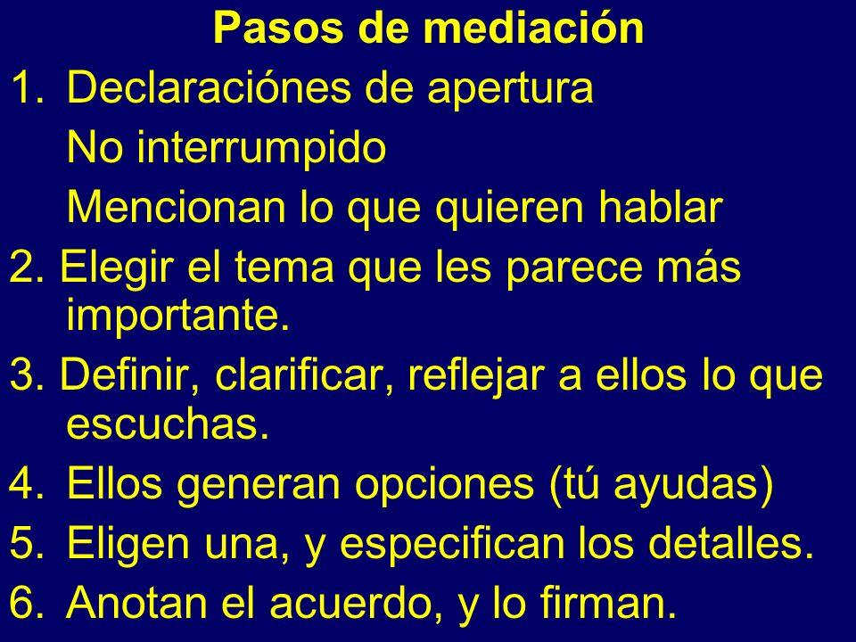 Pasos de mediación 1.Declaraciónes de apertura No interrumpido Mencionan lo que quieren hablar 2.