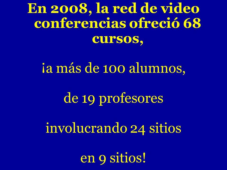 En 2008, la red de video conferencias ofreció 68 cursos, ¡a más de 100 alumnos, de 19 profesores involucrando 24 sitios en 9 sitios!