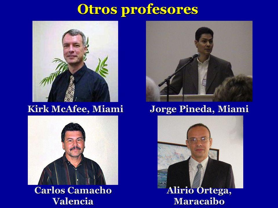 Otros profesores Carlos Camacho Valencia Kirk McAfee, Miami Jorge Pineda, Miami Alirio Ortega, Maracaibo