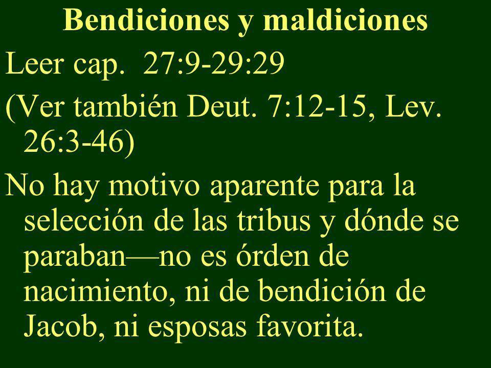 Bendiciones y maldiciones Leer cap. 27:9-29:29 (Ver también Deut. 7:12-15, Lev. 26:3-46) No hay motivo aparente para la selección de las tribus y dónd