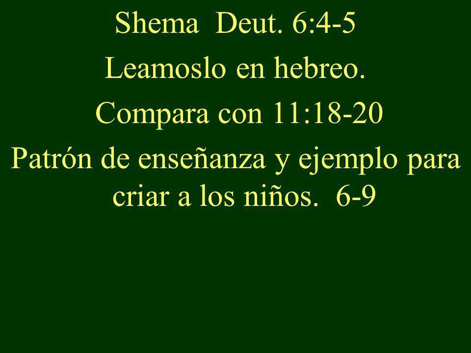 Shema Deut. 6:4-5 Leamoslo en hebreo. Compara con 11:18-20 Patrón de enseñanza y ejemplo para criar a los niños. 6-9