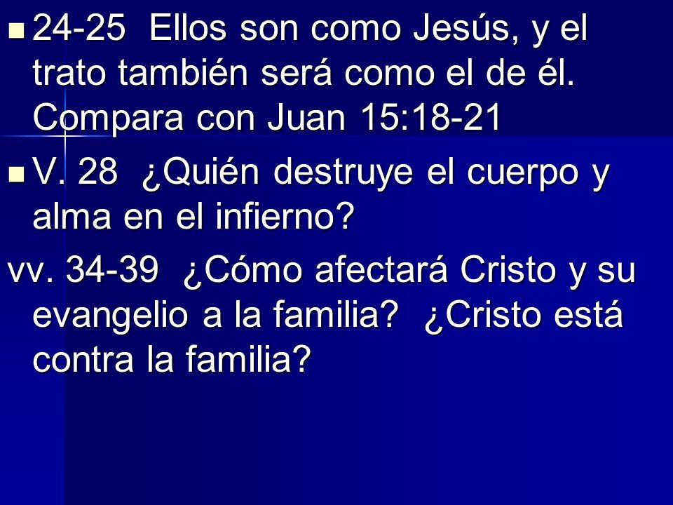 24-25 Ellos son como Jesús, y el trato también será como el de él. Compara con Juan 15:18-21 24-25 Ellos son como Jesús, y el trato también será como