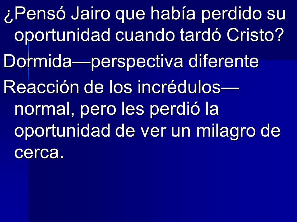 ¿Pensó Jairo que había perdido su oportunidad cuando tardó Cristo? Dormidaperspectiva diferente Reacción de los incrédulos normal, pero les perdió la